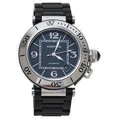 Cartier Black Stainless Rubber Pasha de Cartier 2790 Men's Wristwatch 40.50MM