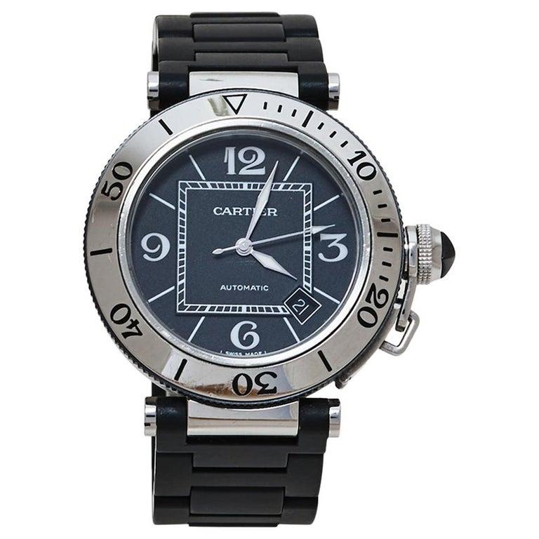 Cartier Black Stainless Rubber Pasha de Cartier 2790 Men's Wristwatch 40.50MM For Sale