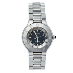 Cartier Black Stainless Steel Autoscaph 21 2427 Automatic Men's Wristwatch 36 mm