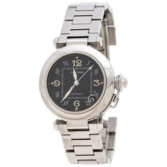 Cartier Black Stainless Steel Pasha de Cartier 2324 Women's Wristwatch 35 mm