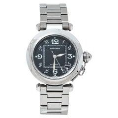 Cartier Black Stainless Steel Pasha de Cartier Automatic Women's Wristwatch 35MM