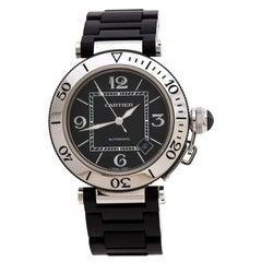 Cartier Black Stainless Steel Rubber Pasha de Cartier Men's Wristwatch 40.5mm