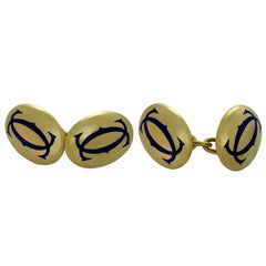 Cartier Blue Enamel Yellow Gold Cufflinks