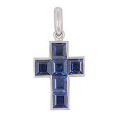 Cartier Blue Sapphire Cross Pendant