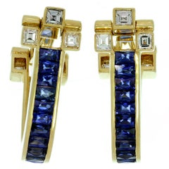 Cartier Blue Sapphire Diamond Yellow Gold Cufflinks