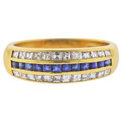 Cartier Blue Sapphire Diamond Yellow Gold Ring