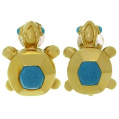 Cartier Blue Turquoise Yellow Gold Turtle Earrings