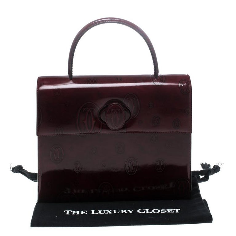 3e8309b5e0 Cartier Bordeaux Patent Leather Happy Birthday Top Handle Bag at 1stdibs