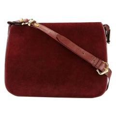 Cartier Bordeaux Suede and Leather Shoulder Bag Gibeciere