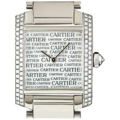 Cartier Boutique Dial Tank Francaise Diamond Quartz Wristwatch B&P