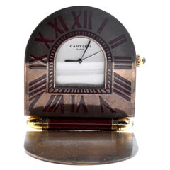 Cartier Brass Travel Alarm Clock with Red Roman Numerals