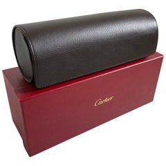 Cartier Brown Leather Gold Hardware Travel Watch Storage Case