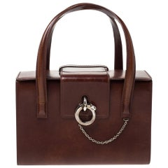 Cartier Brown Patent Leather Panthere Box Bag