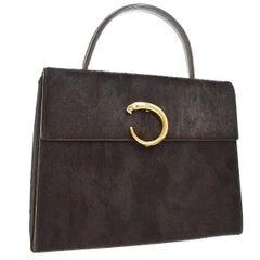 Cartier Brown PonyHair Gold Small Mini Top Handle Satchel Evening Flap Bag