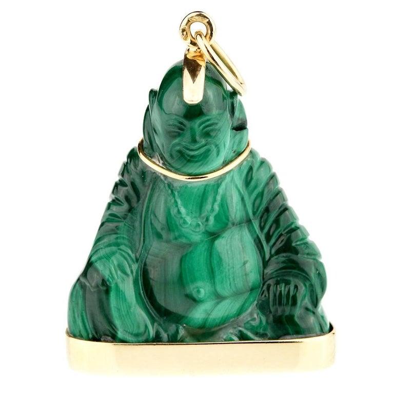 Cartier Buddha Malachite Gold Pendant Necklace