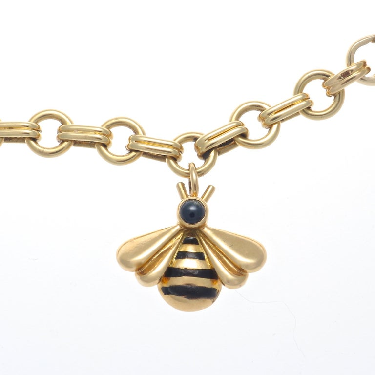 Cartier Bumble Bee Charm Bracelet In Excellent Condition For Sale In Beverly Hills, CA