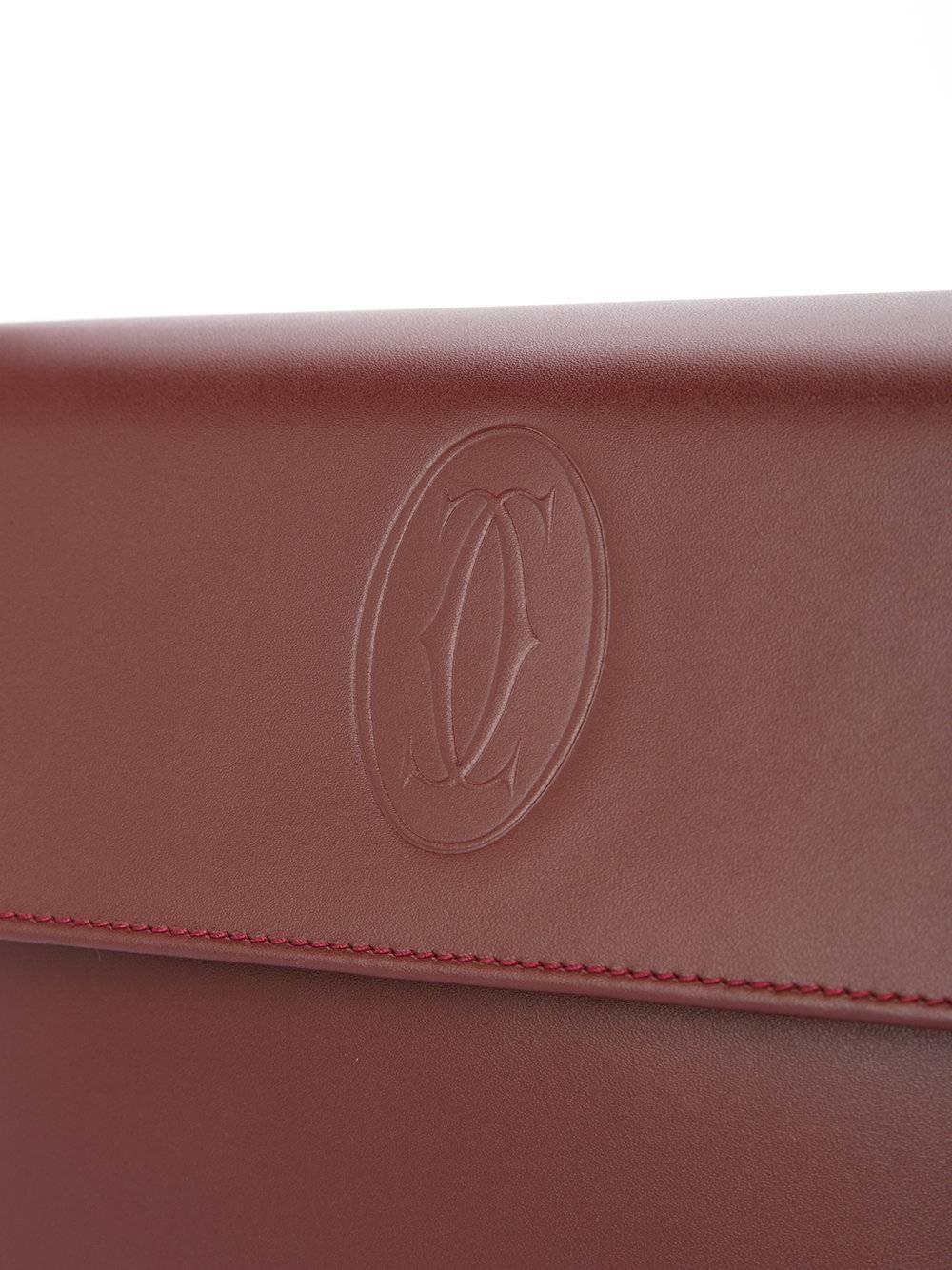 Cartier Burgundy Bordeaux Leather Gold Evening Envelope Flap Clutch Bag mlceBR5