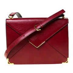 Cartier Burgundy Leather Envelope Shoulder Bag