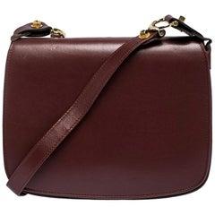 Cartier Burgundy Leather Flap Double Compartment Shoulder Bag