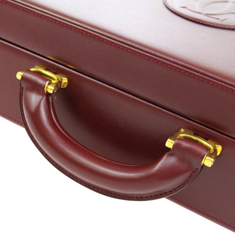 Cartier Burgundy Leather Gold Hardware Men's Women's Business Briefcase Bag For Sale 1