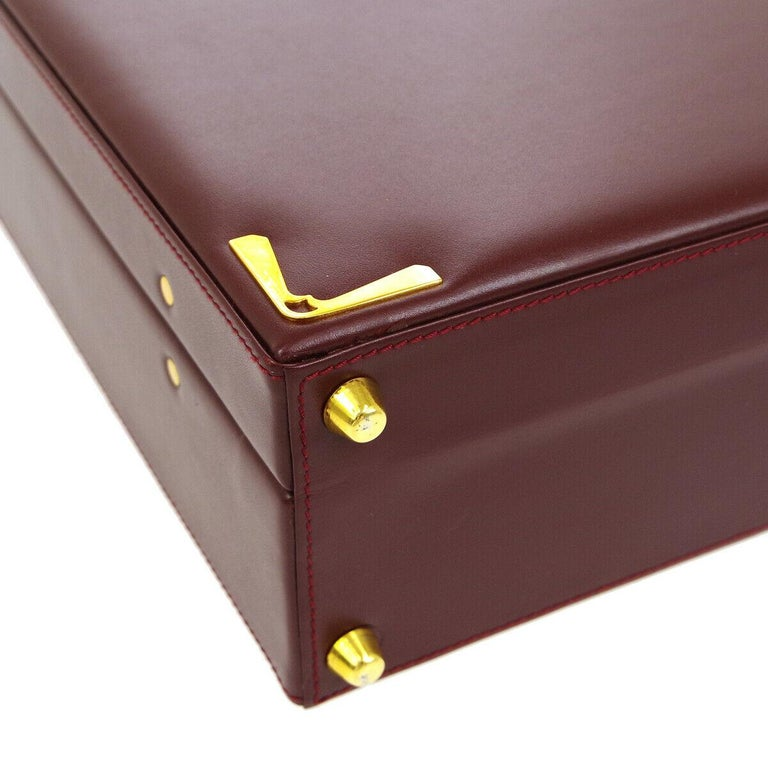 Cartier Burgundy Leather Gold Hardware Men's Women's Business Briefcase Bag For Sale 2