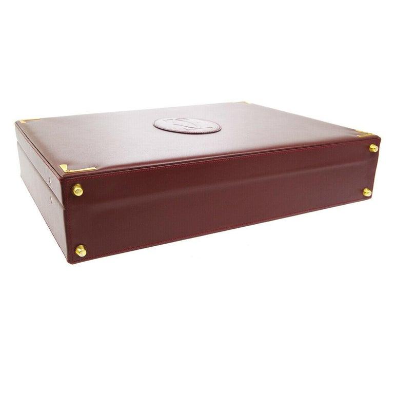 Cartier Burgundy Leather Gold Hardware Men's Women's Business Briefcase Bag For Sale 3
