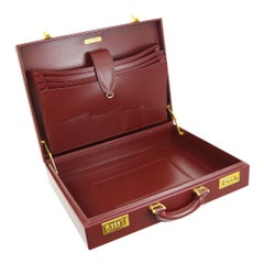 Cartier Burgundy Leather Gold Hardware Men's Women's Business Briefcase Bag