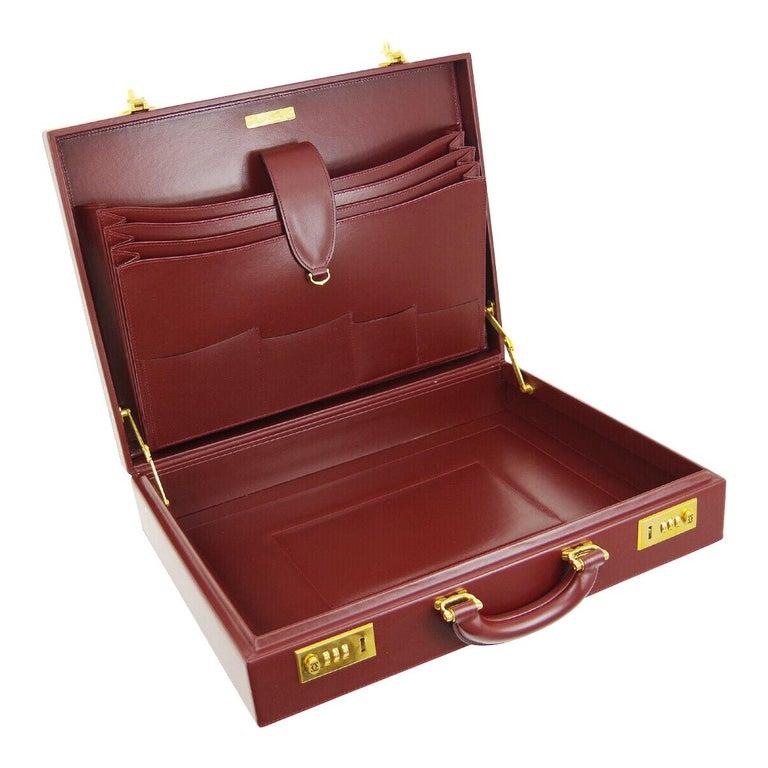 Cartier Burgundy Leather Gold Hardware Men's Women's Business Briefcase Bag For Sale