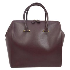 Cartier Burgundy Leather Gold Large Carryall Travel Top Handle Satchel Tote Bag