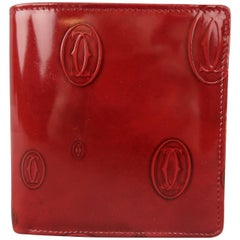 CARTIER Burgundy Logo Embossed Patent Leather Bifold Happy Birthday Wallet