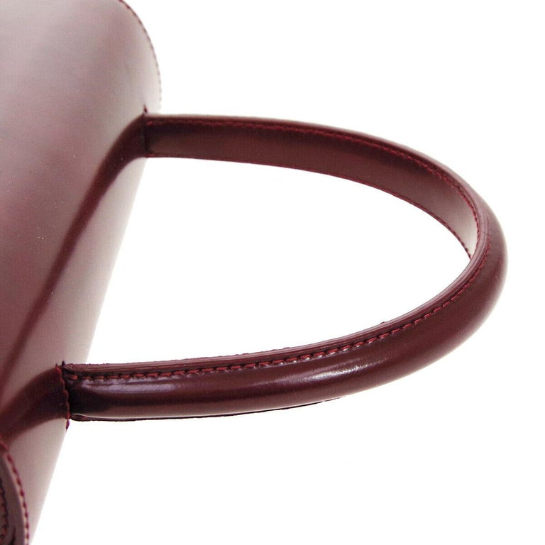 Brown Cartier Burgundy Patent Leather Silver Emblem Kelly Style Top Handle Satchel Bag