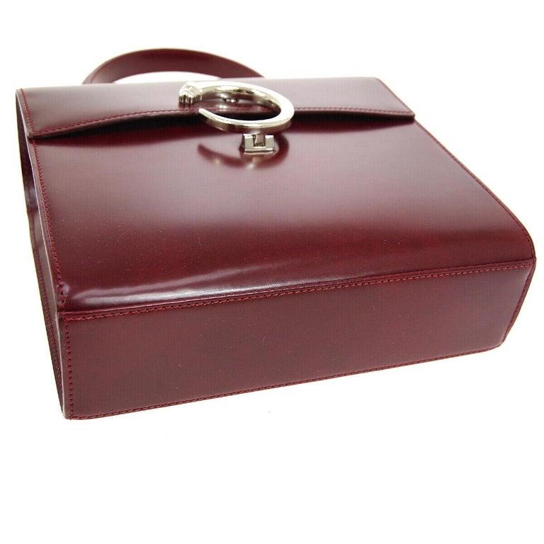 Women's Cartier Burgundy Patent Leather Silver Emblem Kelly Style Top Handle Satchel Bag