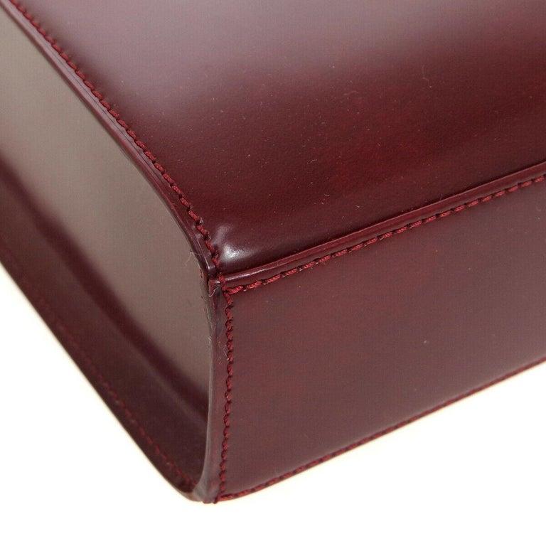 Cartier Burgundy Patent Leather Silver Emblem Kelly Style Top Handle Satchel Bag 1