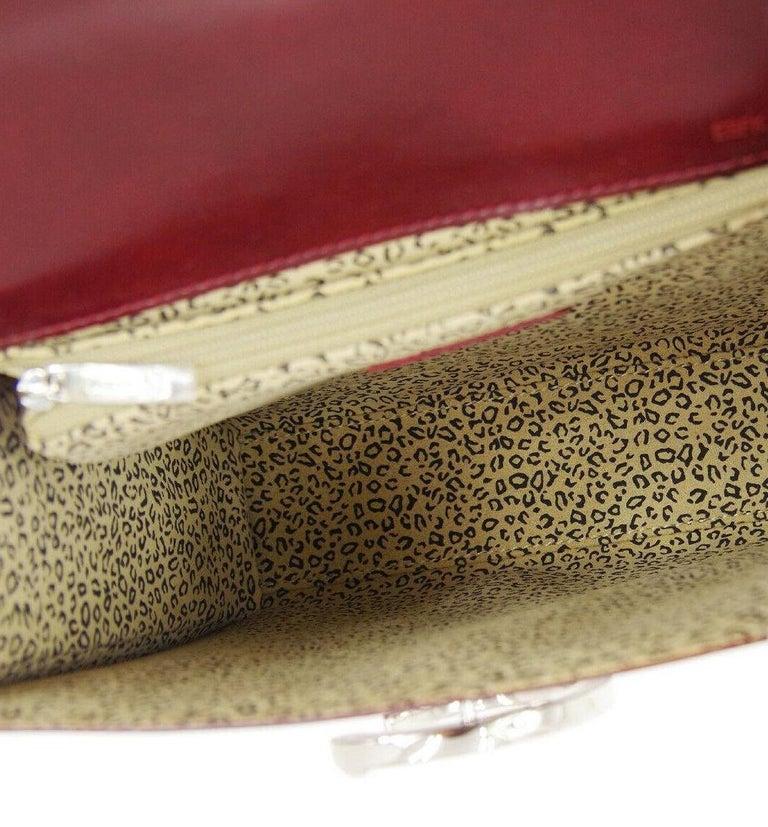 Cartier Burgundy Patent Leather Silver Emblem Kelly Style Top Handle Satchel Bag 2