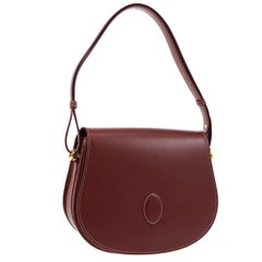 Cartier Burgundy Wine Leather Saddle Top Handle Satchel Shoulder Flap Bag