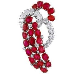 Cartier Burma No Heat Ruby Diamond Brooch