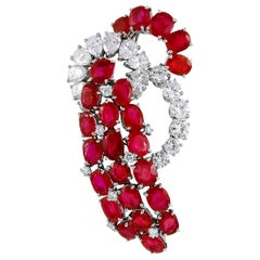 Cartier Burma No Heat Ruby Diamond Platinum Brooch