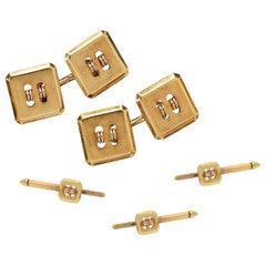 Cartier Button Motif Dress Set in 14 Carat Yellow Gold