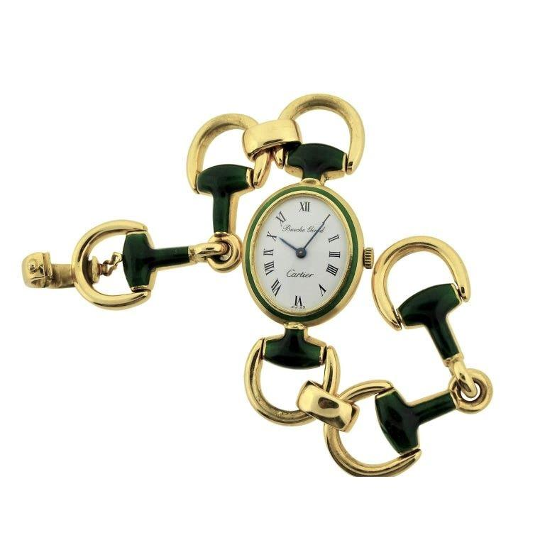 FACTORY / HOUSE: Bueche Girod for Cartier STYLE / REFERENCE: Gold Bracelet  / Hermes Stirrup Style METAL / MATERIAL: 18Kt. Solid Yellow Gold and Kiln Fired Enamel Links CIRCA: 1970's DIMENSIONS: 41mm X 23mm MOVEMENT / CALIBER: Manual Winding / 17