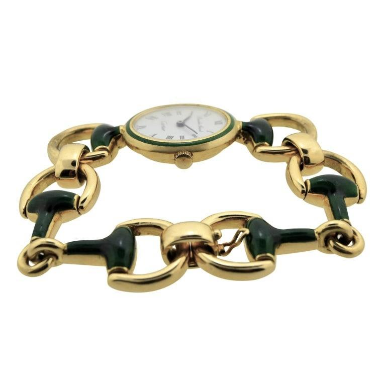 Women's or Men's Cartier by Bueche Girod Yellow Gold Enamel Manual Wind Watch, circa 1970s For Sale