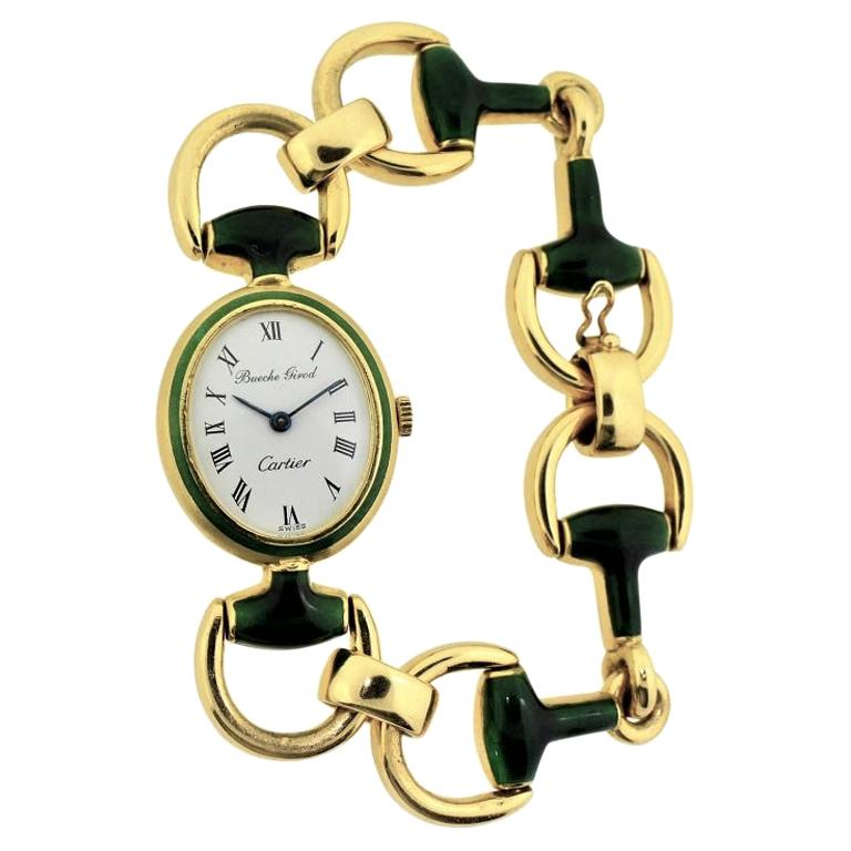 Cartier by Bueche Girod Yellow Gold Enamel Manual Wind Watch, circa 1970s For Sale