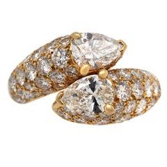 Cartier By-Pass Diamond 18 Karat Gold Ring