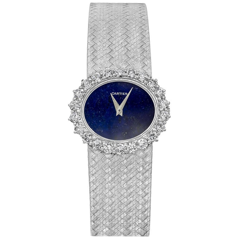 Cartier by Piaget Lapis Lazuli and Diamond Ladies Wristwatch For Sale