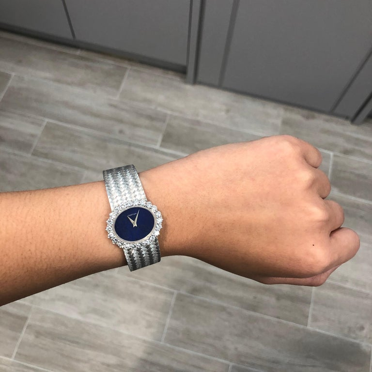 Round Cut Cartier by Piaget Lapis Lazuli and Diamond Ladies Wristwatch For Sale