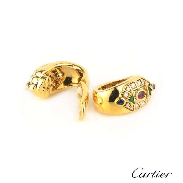 Round Cut Cartier Byzantine Diamond Multi Gem Ear Clip Earrings For Sale