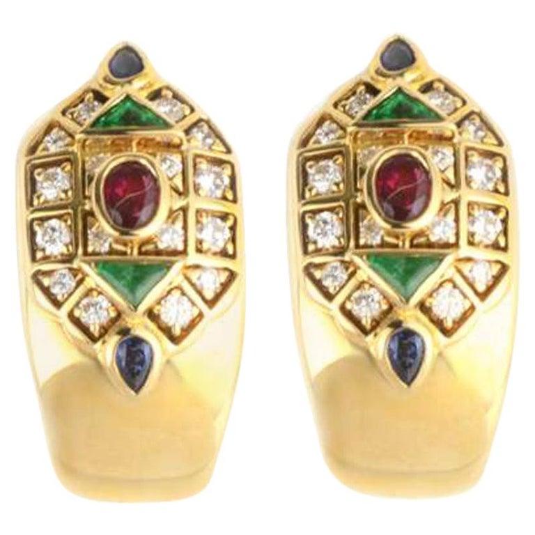 Cartier Byzantine Diamond Multi Gem Ear Clip Earrings For Sale
