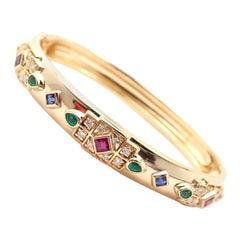 Cartier Byzantine Diamond Sapphire Ruby Emerald Yellow Gold Bangle Bracelet