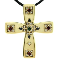 Cartier Byzantine Multi-Color Gemstone Diamonds Yellow Gold Cross Pendant Brooch