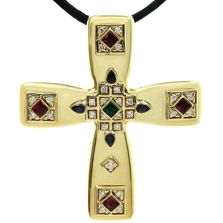 Cartier Byzantine Multi-Color Gemstone Diamonds Yellow Gold Cross Pendant Brooch