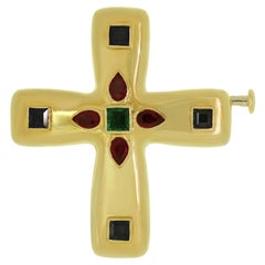Cartier Byzantine Multi-Color Gemstone Yellow Gold Medium Cross Pendant Brooch